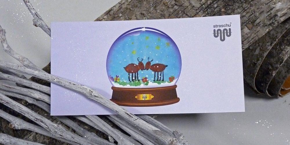 Weihnachtskarten Mit Duft.Straschu Weihnachtskarte Schneekugel Wintertraum